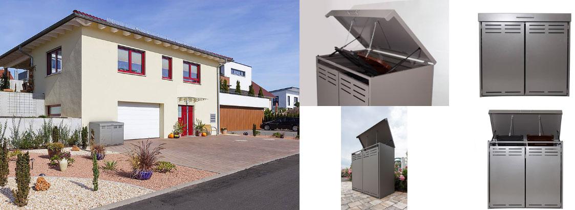 Mülltonnenboxen mit integrierter Öffnungsautomatik