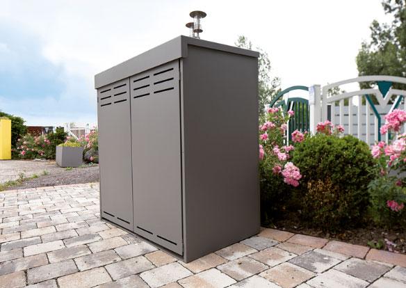 Mülltonnenboxen mit Flügeltüren von Stroff Metalltechnik